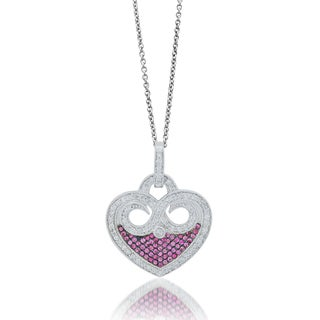 Sterling Silver Pink Sapphire 1.69ct TDW Diamond Heart Pendant (H-I, I1-I2)