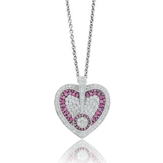 Sterling Silver 2.74 TDW Diamond Pink Sapphire Heart Pendant (H-I, I1-I2)