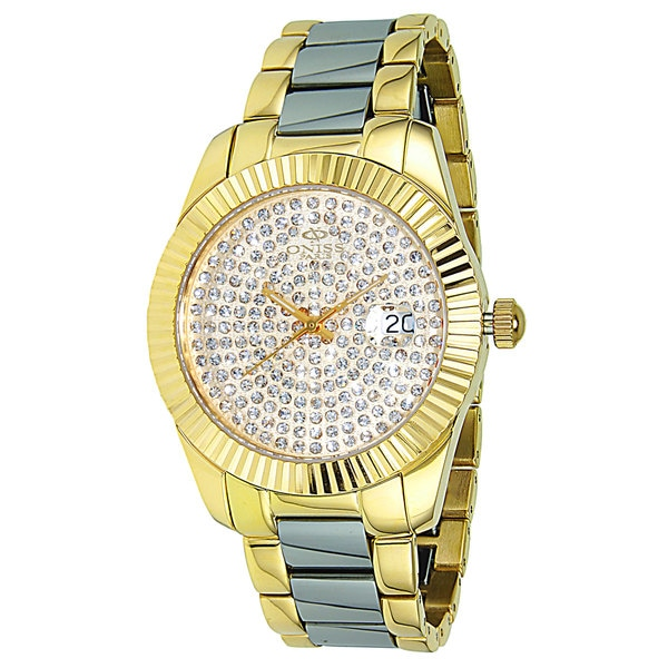 Oniss Women's Stelle-II Collection Two-Tone Pave Stone Dial Watch