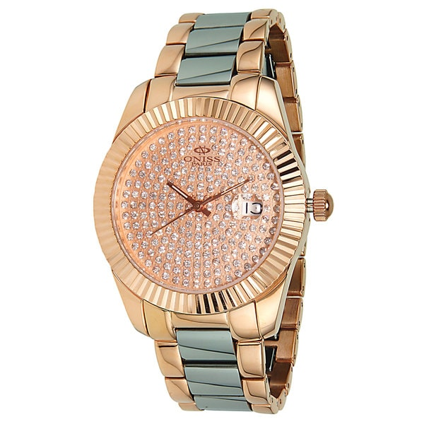 Oniss Women's Stelle-II Collection Goldtone Pave Stone Dial Watch
