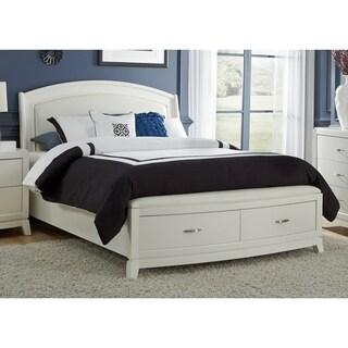 White PU Leather Storage Platform Bed Set