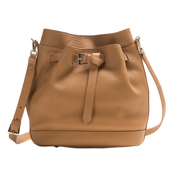 Wa Obi 'Nora' Tan Leather Bucket Bag
