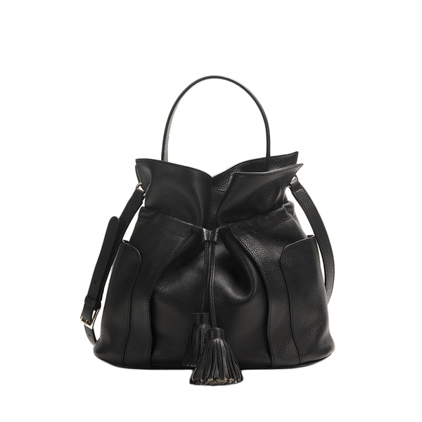 Wa Obi Stella Black Cowhide Leather Bucket Bag