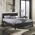 Corrie Black Leather Platform Bed