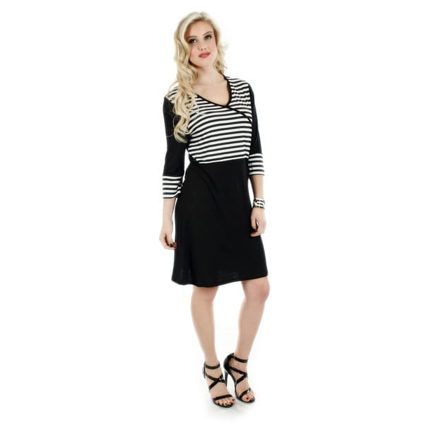 Firmiana Women's Black and White Striped Casual Dress