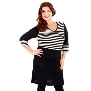 Firmiana Women's Plus Size Black and White Striped Casual Dress