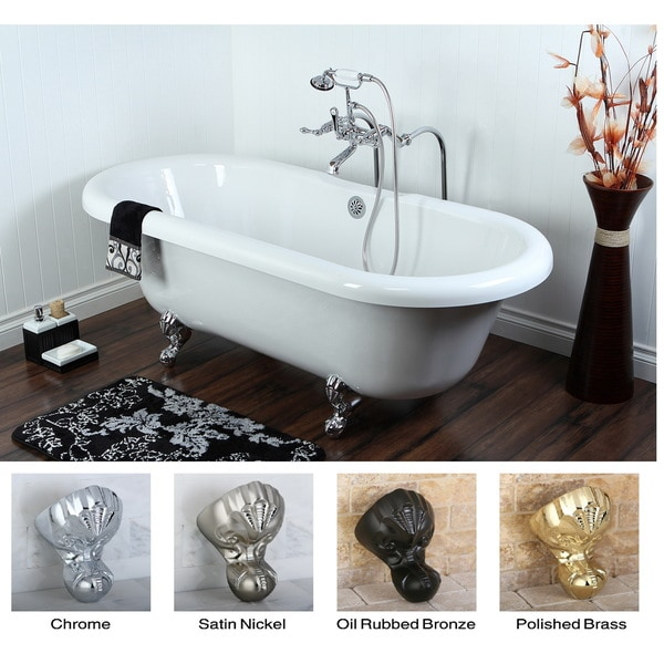 Double Ended 67-inch Acrylic Clawfoot Tub