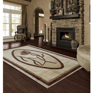 LYKE Home Isabela Ivory/ Brown Area Rug (5' x 8')