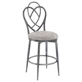 Christopher Knight Home Lexis Brushed Pewter Designed Back Memory Swivel Counter Stool