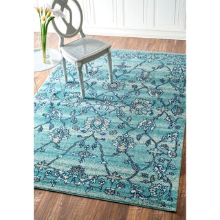 nuLOOM Modern Abstract Vintage Aqua Rug (5'3 x 7'9)
