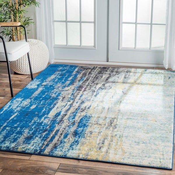nuLOOM Modern Abstract Vintage Blue Area Rug 8 x 10