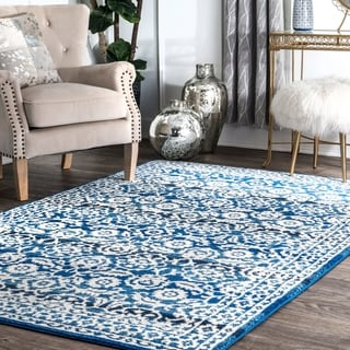 nuLOOM Traditional Persian Vintage Dark Blue Rug (7'10 x 10'10)