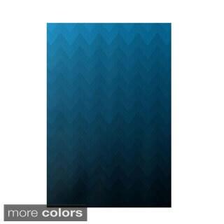 Decorative Faded Chevron Stripe Pattern Area Rug (2' x 3')