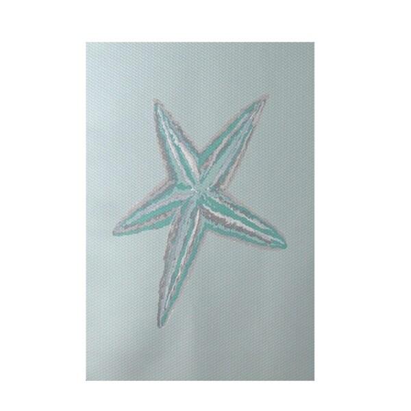 Decorative Starfish Coastal Pattern Aqua Area Rug (2' X 3