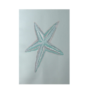 Decorative Starfish Coastal Pattern Aqua Area Rug (2' x 3')