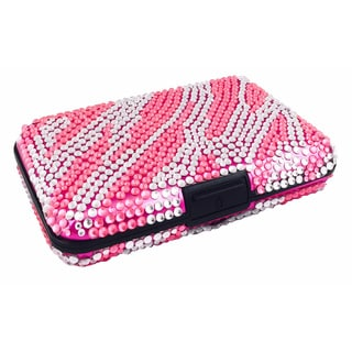 As Seen On TV Pink Zebra Jeweled Aluminum Wallet