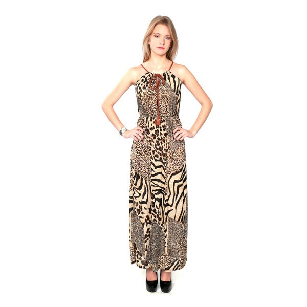 Nancy Yang Women's Mixed Print Halter Maxi Dress