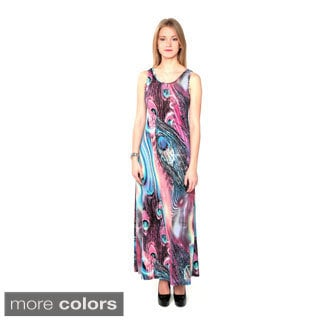 Nancy Yang Women's Abstract Pattern Cage-back Maxi Dress