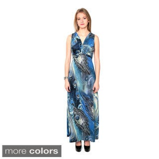 Nancy Yang Women's Blue Abstract Print Sleeveless Maxi Dress