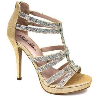 Women's 'Adriana-07' Gold Glitter Platform Heels
