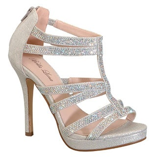 Women's ADRIANA-07 Glitter Platform T-strap Heels