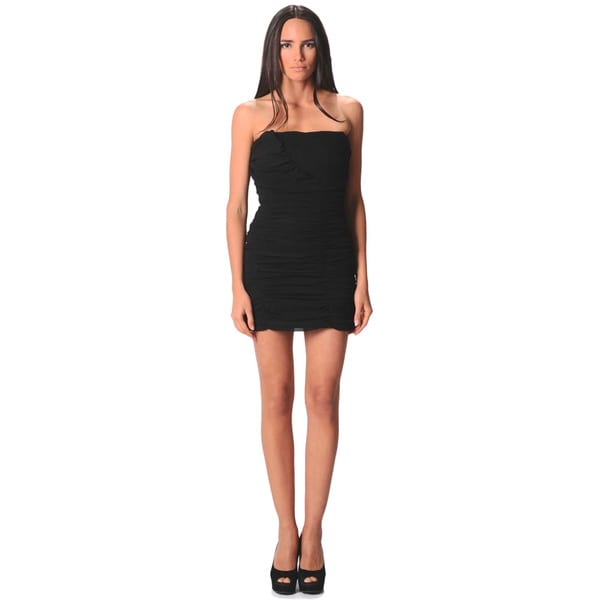 Sara Boo Black Strapless Woven Dress