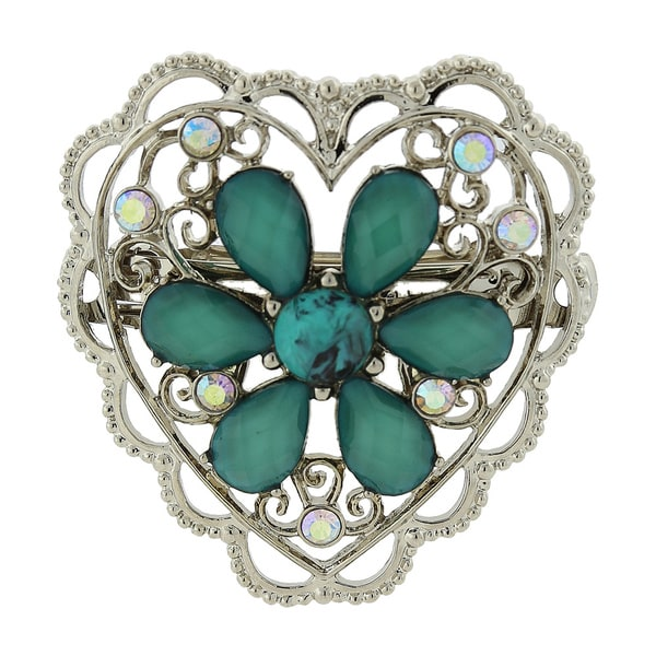 1928 Turquoise-blue Crystal Flower Filigree Hair Barrette