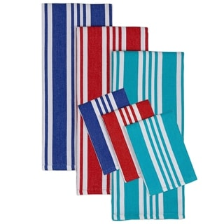 Beach Stripe Dishtowel and Dishcloth (Set of 6)