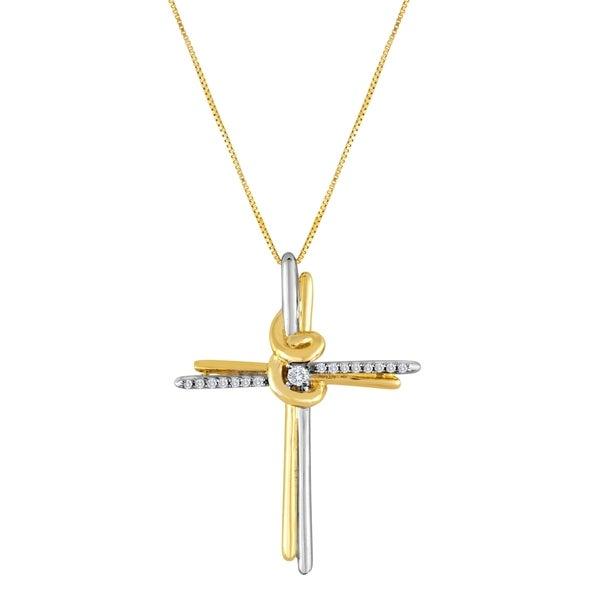 Espira 10k Two-tone Gold Round Diamond Cross Necklace (I-J, I2-I3)