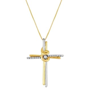 10k Two-tone Gold Diamond Accent Cross Necklace