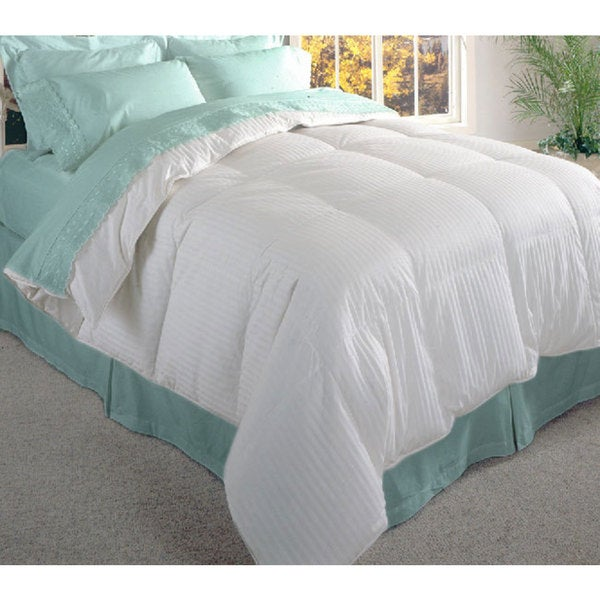 Damask Stripe 600 TC Siberian White Down Comforter - King Size (As Is Item)