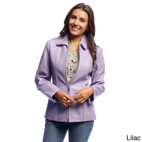 Women's Lilac Lambskin Leather Zip-front Scuba Jacket in Size Medium (As Is Item)