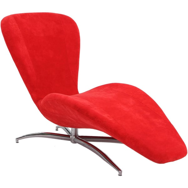 Christopher Knight Home Red Faux Velvet Reclining Chaise Lounge Chair 17071
