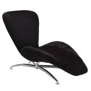 Christopher Knight Home Black Faux Velvet Reclining Chaise Lounge Chair