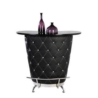 Christopher Knight Home Giorgio Black tufted Home Bar with Glass Top