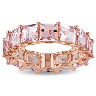 Miadora 14k Rose Gold Morganite Eternity Ring