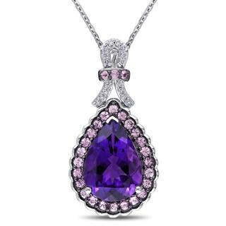 Miadora 14k White Gold Amethyst Sapphire 1/10ct TDW Diamond Teardrop Necklace (G-H, SI1-SI2)