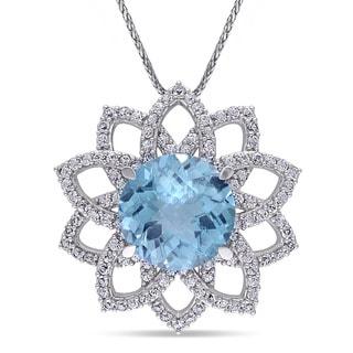 Miadora 14k White Gold Blue Topaz White Sapphire Flower Necklace