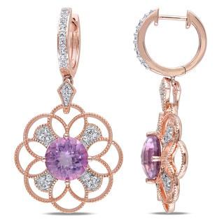 Miadora Rose Goldplated Silver Gemstone Diamond Accent Flower Dangle Earrings