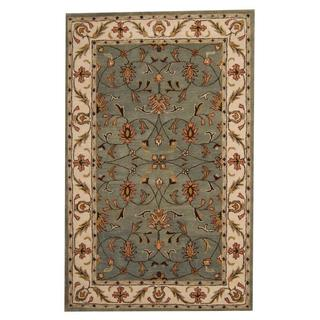Herat Oriental Indo Hand-tufted Persian Isfahan Design Green/ Brown Wool Rug (5' x 8')