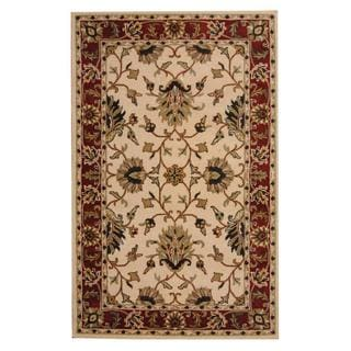 Herat Oriental Indo Hand-tufted Persian Isfahan Design Ivory/ Red Wool Rug (5' x 8')