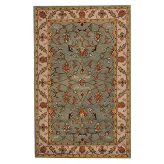 Herat Oriental Indo Hand-tufted Persian Isfahan Design Green/ Ivory Wool Rug (5' x 8')