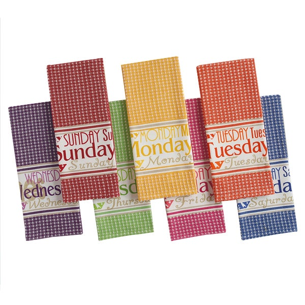 Brights Days of the Week Printed Dishtowel (Set of 7)