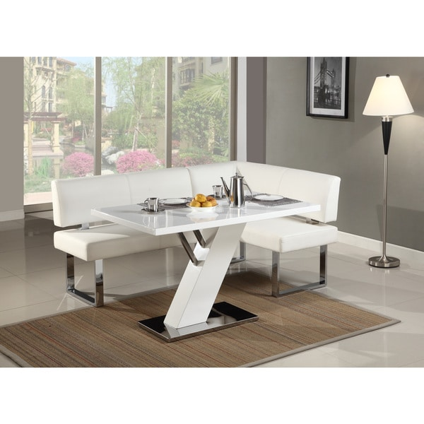 Christopher Knight Home Leah Gloss White/Chrome Dining Table