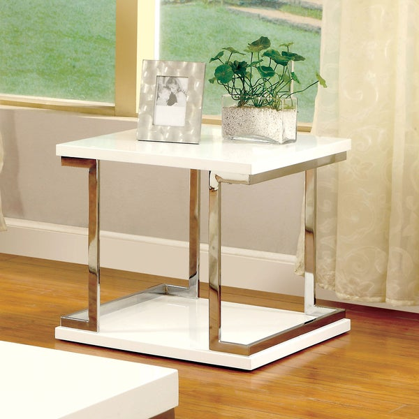 Furniture of america lolie white gloss end table for Furniture of america inomata geometric high gloss coffee table