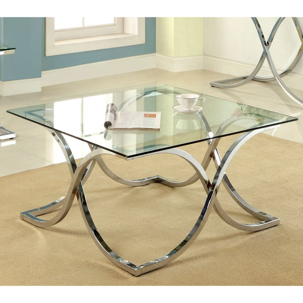 Furniture of America Artenia Modern Chrome Coffee Table 14920326