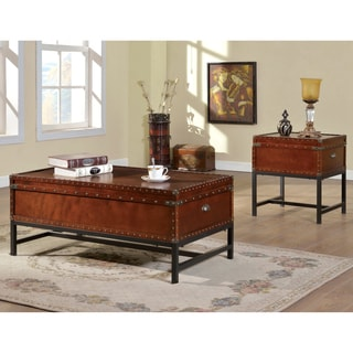 Furniture of America Dravens Industrial Trunk Style 2-Piece Accent Table Set