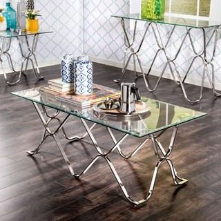 Furniture of America Tellarie Contemporary Chrome Coffee Table