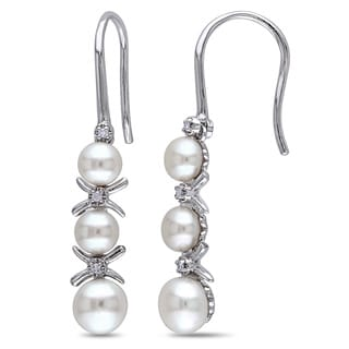 Miadora Sterling Silver Freshwater Pearl Diamond Accent Dangle Earrings (4-5.5 mm)