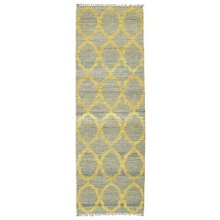 Handmade Natural Fiber Cayon Grey Lattice Rug (2'0 x 6'0)